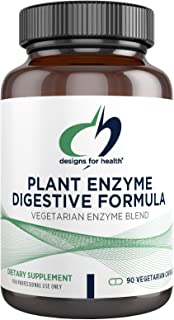 Designs for Health Plant Enzyme Digestive Formula - Vegetarian Digestive Enzymes Supplement - Gut Support with Hemicellula...