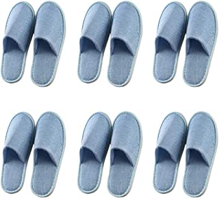 Fitlyiee Non-slip Unisex Slippers Flax Breathable Guests Slipper for Men Women (6 Pack, Blue)