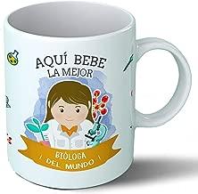 Planetacase Taza Desayuno Aquí Bebe la Mejor biologa del Mundo Regalo Original biologos biologia Ceramica 330 mL