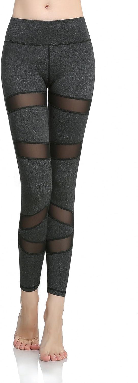 Maks Girls Junior Women's Black Spliced mesh Inserts Compression Tights Fitness Yoga Pants Leggings