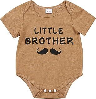 الوليد عارضة أخي الصغير رسالة رومبير الرضع قصيرة الأكمام جولة الرقبة playsuit بالجملة (Color : Khaki, Kid Size : 3M)