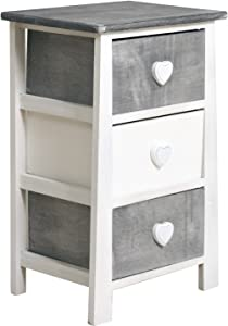 Rebecca Mobili Nightstand Bedside Table 3 Drawers 3 Heart Handles Wood White Grey Vintage Style Bedroom Lounge - 57,5 x 37 x 27 cm (H x W x D) - Art. RE4160