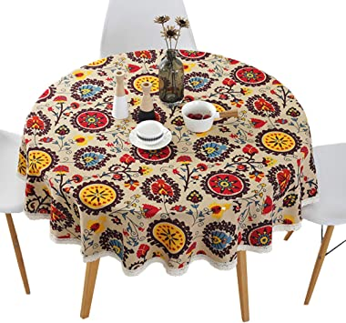 """Bohemian Style Round Tablecloth Cotton Linen Lace Floral Table Cloth for Kitchen Dining Room Tabletop Decoration, Round - 60"""""""