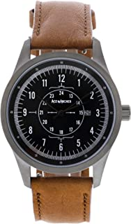 Aviator Watch, Stainless Steel Case and Leather Band for Men, Free Leather Wallet with Purchase Made in The USA - Gun Metal/Light Brown
