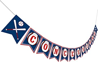 Baseball CONCESSIONS Birthday Banner, Baby Shower Sports Themed Pennant Decoration