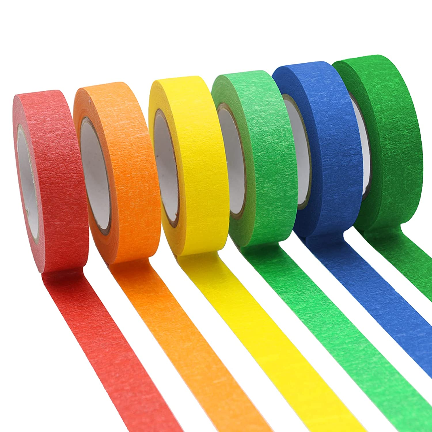 6 Colored Masking Tape 16 Yard Per Roll, Rainbow Colors Painting Tape, Painters Tape, Craft Tape, Labeling Tape, Paper Tape for Bullet Journals, Party Decorations, DIY Craft, 0.6 Inch Wide