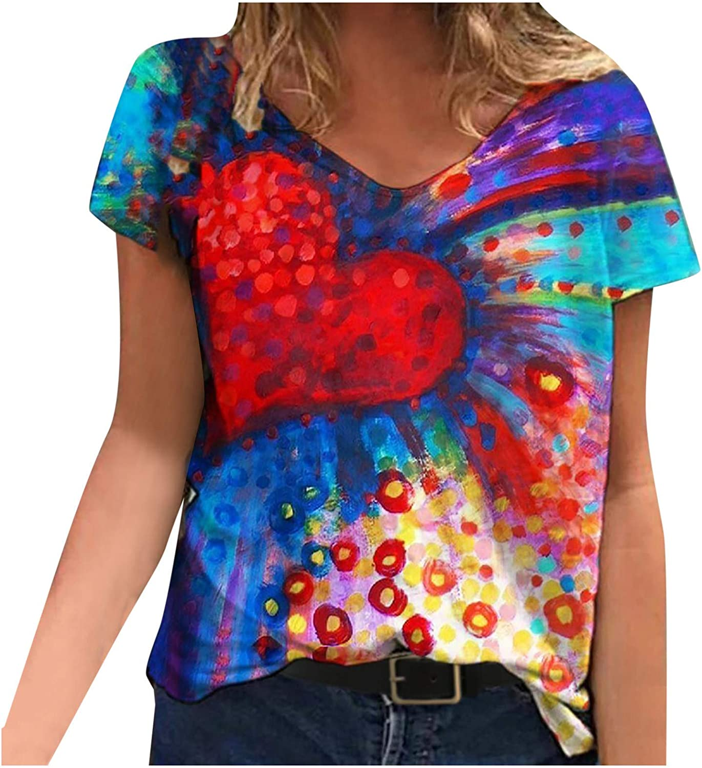 Womens Summer Tie-Dyed Printed Wrap V-Neck Short Sleeve Tops Fashion Casual Loose Tee T-Shirt Blouse