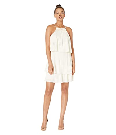 Halston Sleeveless Pleated Tier Jersey Dress (Cream) Women
