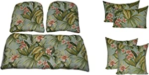 "Resort Spa Home Wicker Cushions and Pillows 7 Pc Set - Tufted Wicker Loveseat & 2 Chair Cushions and 17"" & Lumbar/Rectange Pillows - Jamaican Mist Tropical Floral - Indoor/Outdoor Fabric"
