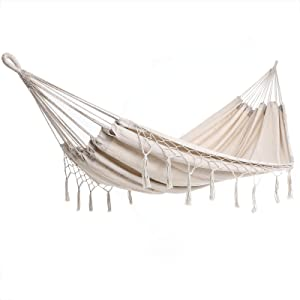 Detex Hamaca de algódon con Flecos Crema Carga máx de 300 kg para 2 Personas 320x150 cm para su jardín terraza Camping