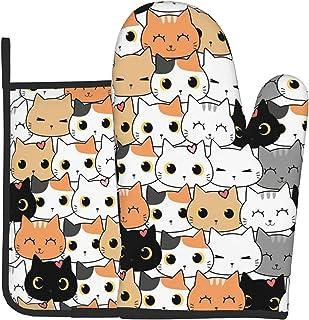 القط مضحك قفازات الفرن وحوامل الأواني للمطبخ غير زلة وسادة الساخنة مقاومة للحرارة قفازات شواء للطهي الخبز الميكروويف