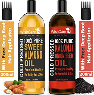 WishCare® 100% Pure Cold Pressed Kalonji Black Seed Oil & Sweet Almond Oil - 200Ml Each