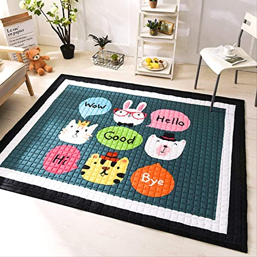 Baby Play Mat Cotton, Non-slip Non-toxic Super Large 145cm195cm1.5cm Waschbare Farbeful Animals 145  195cm1.5cm E