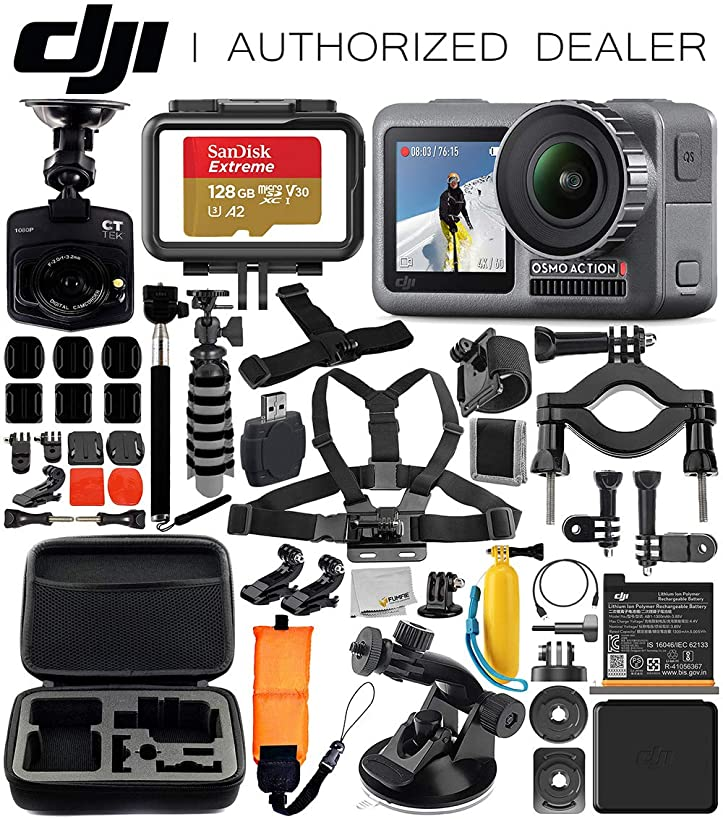 DJI Osmo Action 4K Camera with Free Promotional Dash Cam & Deluxe Accessory Bundle – Includes: SanDisk Extreme 128GB microSDHC Memory Card, Carrying Case, Selfie Stick, Flexible Tripod & More