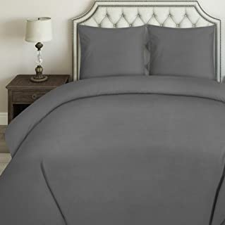 Utopia Bedding Housse de Couette 220x240 cm avec 2 Taies d'oreiller 80x80 cm - (Gris) Parure de Lit 2 Personnes avec Ferme...
