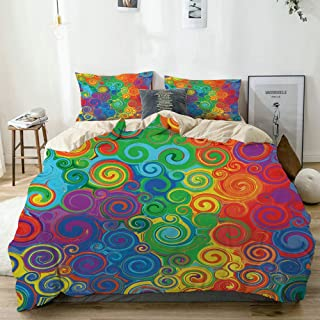 JOSENI Duvet Cover Set Abstract Rainbow Colored Curved Stripes Swirls and Shapes Pattern Vibrant Colors Beige Decorative 3 Piece Bedding Set with 2 Pillow Shams Twin Size