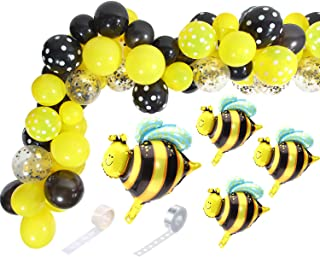 71 Pieces Bee Balloons Garland Kit Yellow Black Polka Dot for Bee Birthday Party Decoration, Baby Shower, Honey Birthday Party Supplies