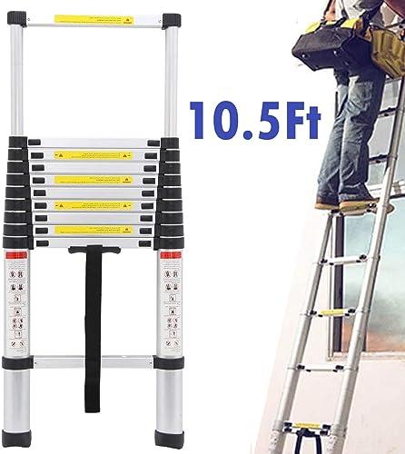 popular 10.5Ft Telescoping Ladder Aluminum Extension Steps 330Lb online Max Load sale Capacity outlet sale