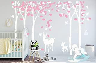 DAEGOD Giant Five Trees Wall Decals Sticker - Forest Birch Deer Vinyl Mural Art for Kids Nursery Bedroom Decoration DIY Decals (White)
