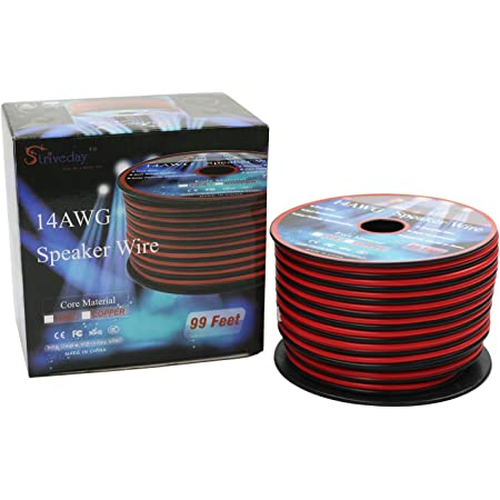 Striveday 14AWG Speaker Wire Cable Red & Black Home/Car audio cable (14 Gauge 99ft/30Meter) (99.9% Oxygen-Free Copper conductors speaker wire)