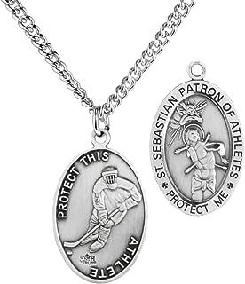 Heartland Men's Sterling Silver Oval Saint Sebastian Ice Hockey Medal + USA Made + Chain Choice