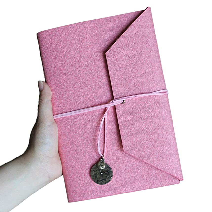 小切手ペット年次ノートを厚くする ノートA5ルーズリーフシンプルな日記帳レトロハンドブックビジネスノートブック肥厚オフィス会議記録 (Color : Pink, サイズ : 16.5*23.5cm)