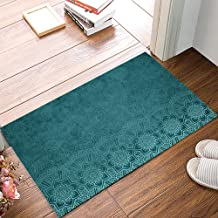 Welcome Doormats for Entrance Way, Aqua Teal Mandala Floral Turquoise Indian Boho Ethnic Style Non-Slip Indoor Area Runner...
