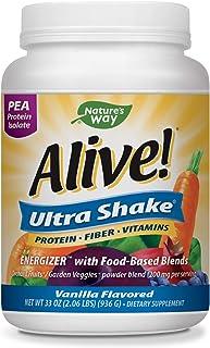 Nature's Way Alive! Ultra-Shake Pea Protein, Includes Vitamins & Fiber, Vanilla Flavor, 26 Servings