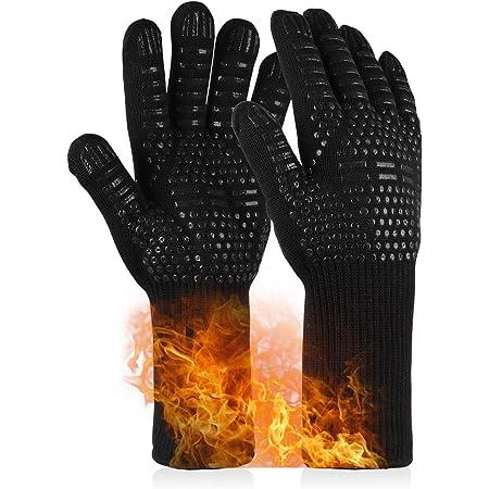 耐熱グローブ バーベキューグローブ 最高耐熱温度800℃ 滑り止め 着脱簡単 洗濯可能 繰り返し使用 BBQ手袋 クッキンググローブ キャンプ キッチン グローブ 調理道具 黒