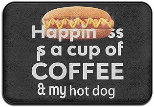 Happiness Coffee Hot Dog Doormat Anti-slip House Garden Gate Carpet Door Mat Floor Pads