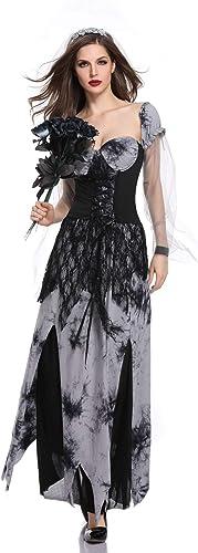 Halloween Ghost Brautkleid Weißliche Teufel Vampir Zombie Braut Cosplay Kostüm Horror-Spiel Kostüm,XL