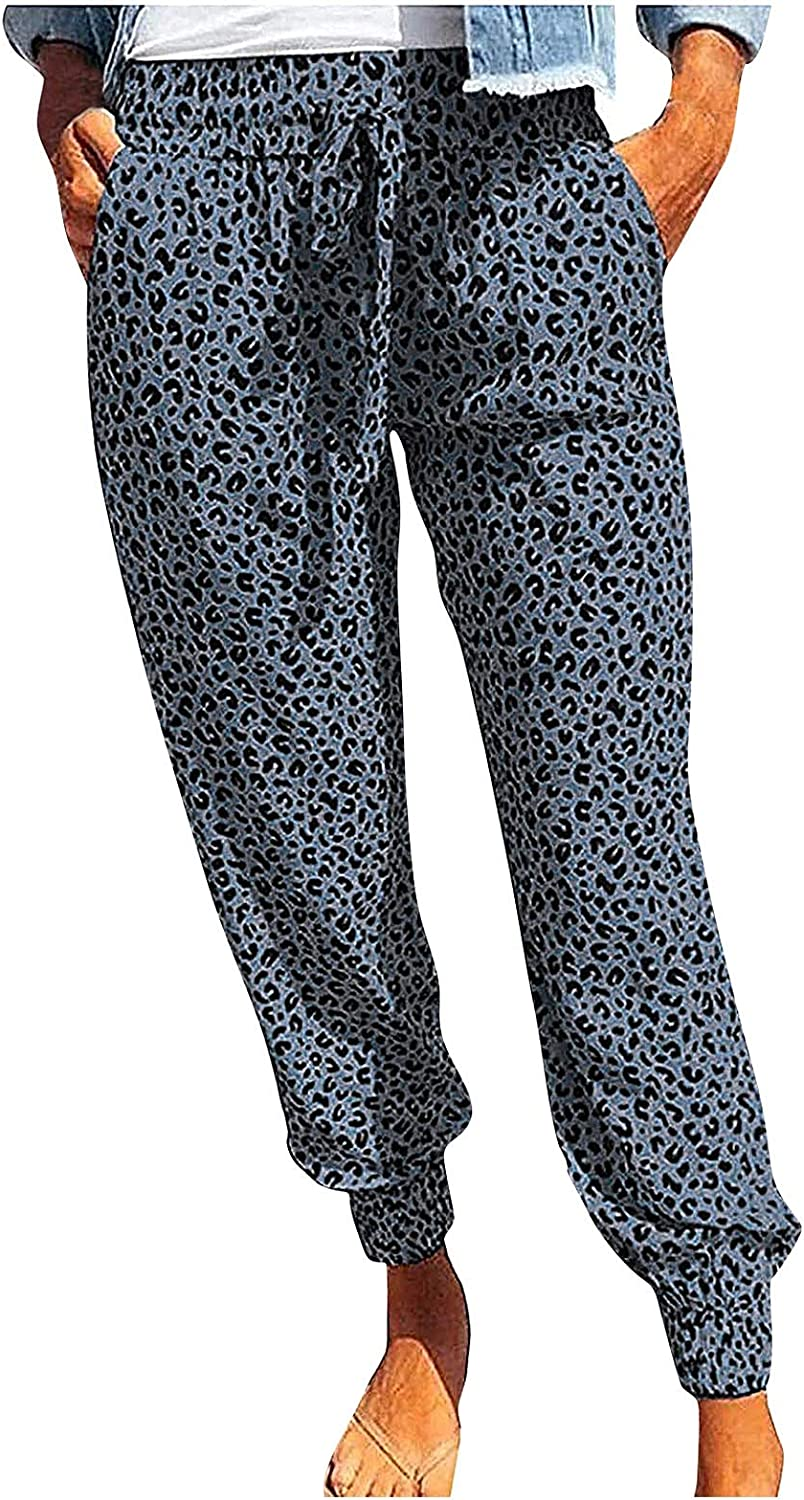 BZSHBS Leopard Joggers Pants for Women Drawstring Elastic Waist Casual Sweatpants with Pockets