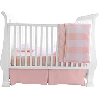 Baby Crib Bedding Sets for Girls — 4 Piece Set Includes Crib Sheet, Quilted Blanket, Crib Skirt and Baby Pillowcase — Gingham Design in Pink