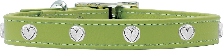 Rockin' doggie Heart Rivets Leather Dog Collar, 1 2 by 10Inch, Green