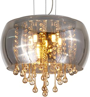 YLONG-ZS Flush Mount Crystal Chandelier Lighting Finishing Glass Smoky Gray Big Drum Chandeliers Ceiling Light Fixture 6 G9 Bulbs Pendant Light in Hall or Bedroom