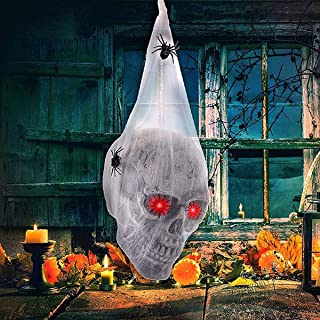 Anditoy Halloween Skull with Light Up Eyes Hanging Skeleton Inside Spider Web for Halloween Decorations Outdoor Indoor Hau...