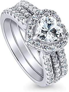Rhodium Plated Sterling Silver Heart Shaped Cubic Zirconia CZ Halo Engagement Wedding Insert Ring Set 2.21 CTW