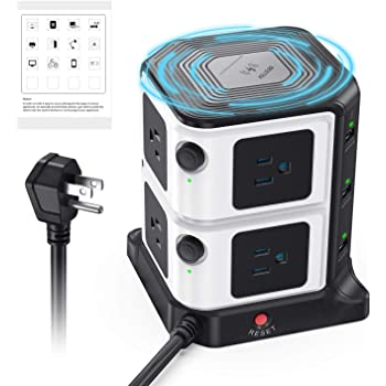 BESTEK USB Power Strip with 10W Wireless Charger 8-Outlet Surge Protector and 40W 6-Port USB Charging Dock Station,1500 Joules,ETL Listed,Dorm Room Access