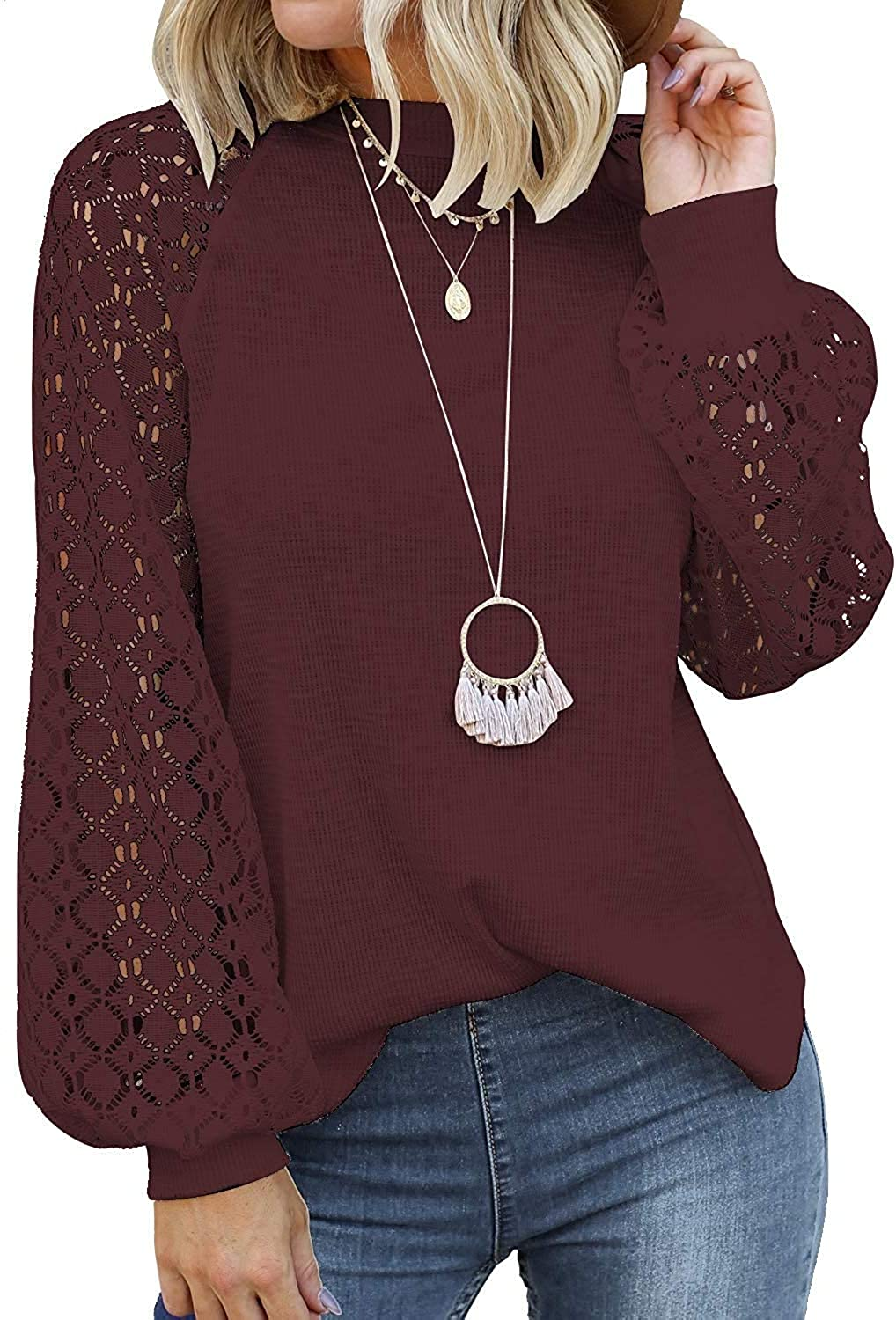 Women's Lace Long Sleeve Tops Fall Casual Loose Blouses T-Shirts Tops