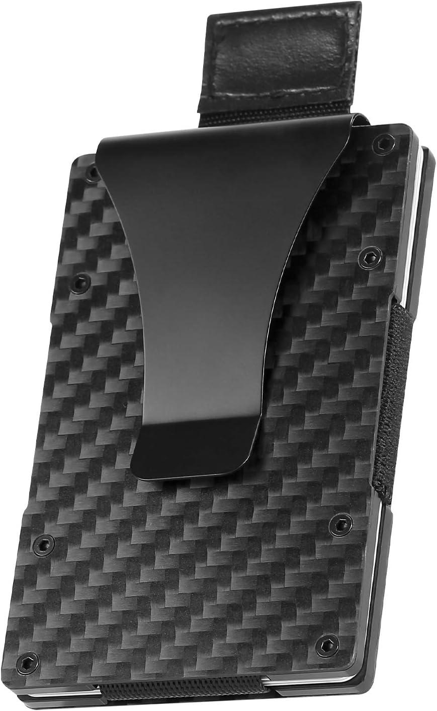 Carbon Fiber Wallet for Men, Geelyda RFID Blocking Slim Minimalist Wallet with Money Clip, Metal Aluminum Credit Card Holder, Gift Boxed