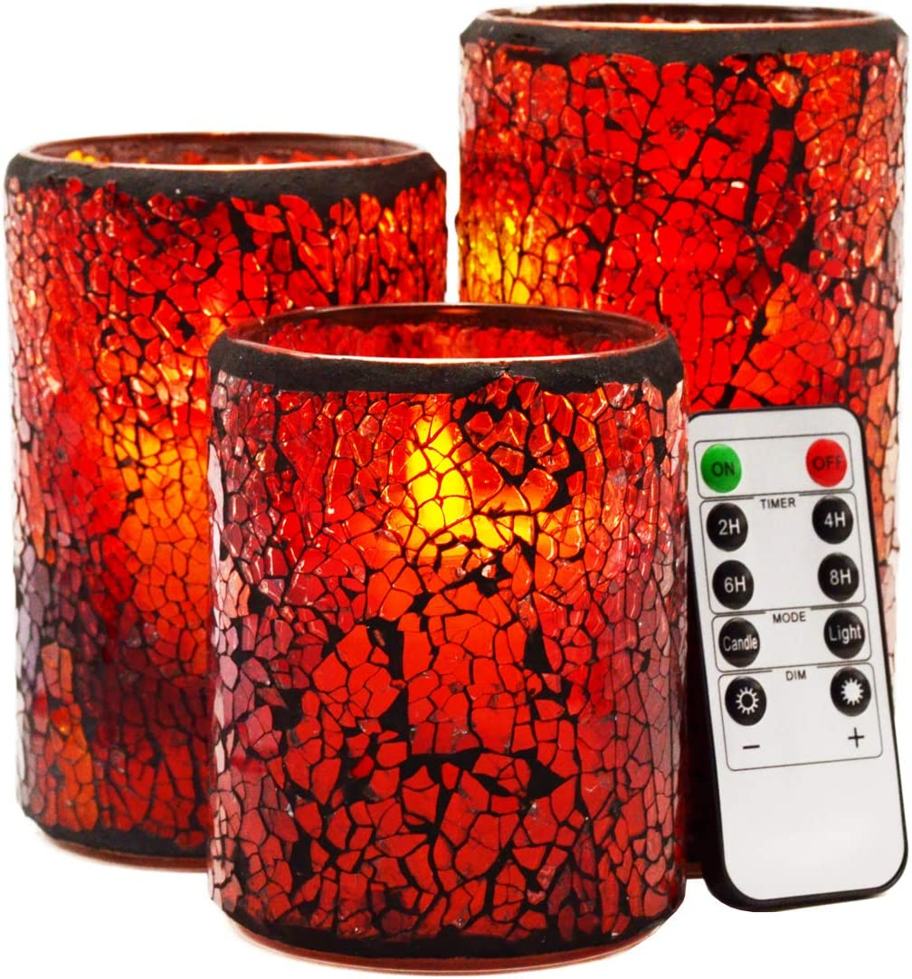 LED Mosaic Flameless Candle Cracked P Glass 再入荷/予約販売! 買収 Moving Wick Pattern