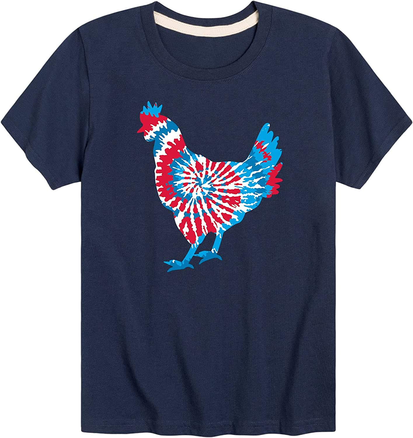 Instant Message Tie Dye Chicken Patriotic - Toddler and Youth Short Sleeve Graphic T-Shirt