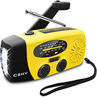 [Upgraded Version]Emergency Radio, Esky 3W LED Flashlight Hand Crank Radio, Self Powered AM/FM NOAA Weather Radio, Portabl...