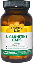 Country Life L-Carnitine Caps - 500 mg with Vitamin B6-180 Capsules - May Help Support Energy Production - Aids Utilizatio...