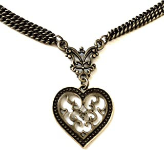 Vintage Heart Necklace Bronze Bohemian Filigree - 8th Wedding / 19th Wedding - Boxed & Gift Wrapped