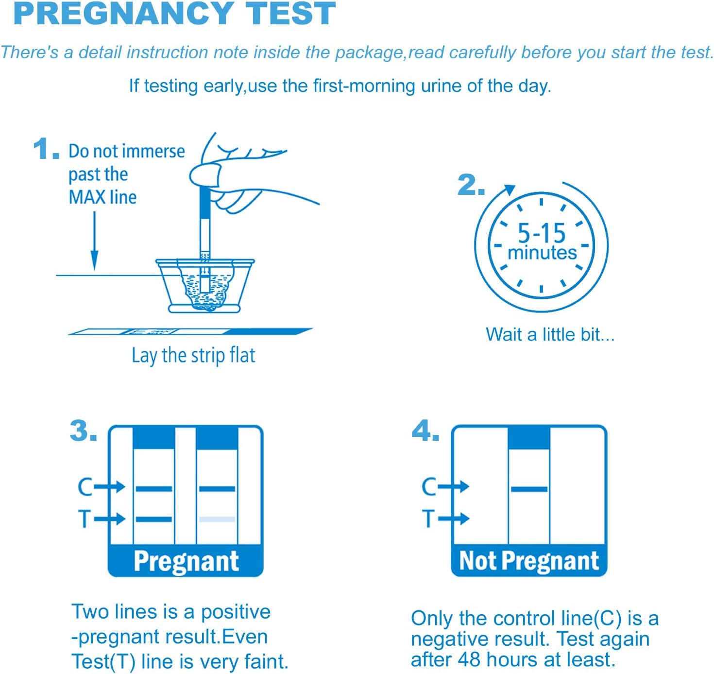 David 3 HCG Pregnancy Test Midstream Sticks and 3 Test Strips with 3 Free Urine Cups Individually-Sealed Combo Pack Rapid Detection