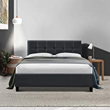 Double Bed Frame, Fabric Bed Base Wooden Slats, Charcoal