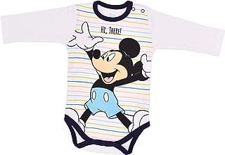 Babybogi Mickey Mouse Baby Body für Jungen | Größe 62-86 | Babybody in den Farben Weiß/Bunt | 100% Baumwolle | Wickelbody Langarm für Junge mit Druckknöpfen