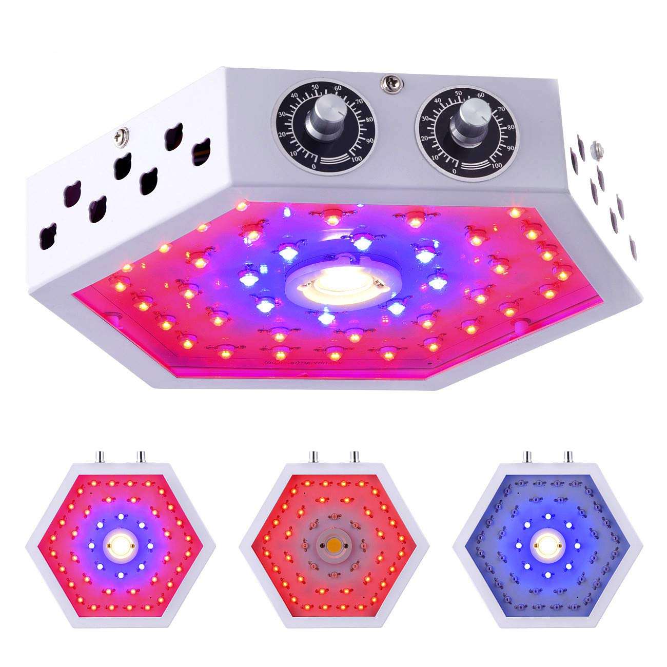 GUANHONG LED Plant Grow Light 1000W Ajustable Knobs Full Spectrum Panel Growing Lamp Suitable for Greenhouse Seedling Veg and Flower(Dual-Chips)