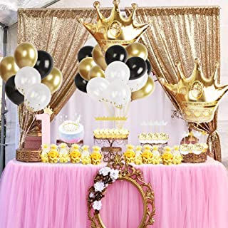 Gold Crown Party Decoration Kit Gold Crown Pouch,Foil and Latex Balloons,Crown Cake Toppers for Birthday,Bachelorette,Wedding Favors Supplies